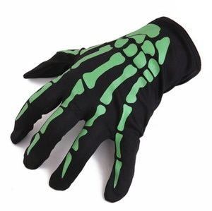 Accessories - Pair of Black and Green Halloween Skeleton Gloves